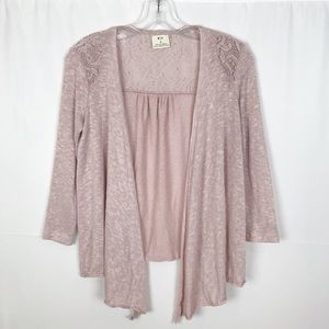 ANTHRO-PINS and NEEDLES Pink Open Cardigan-Small